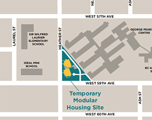 Modular housing Marpole map