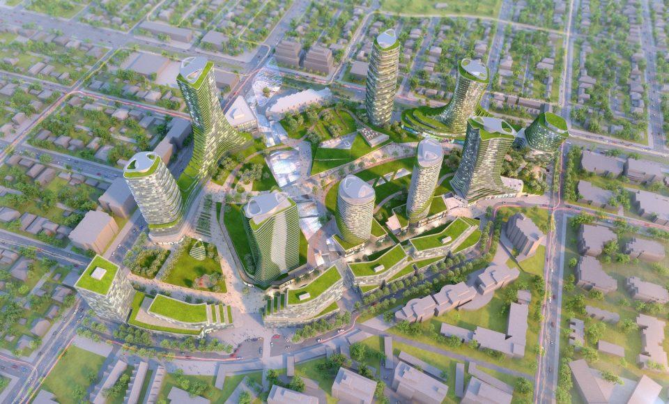 Oakridge redevelopment rendering overhead