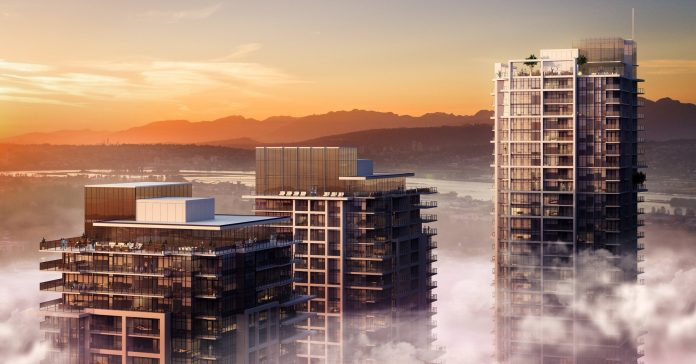 Tien Sher Whalley development rendering of towers in fog