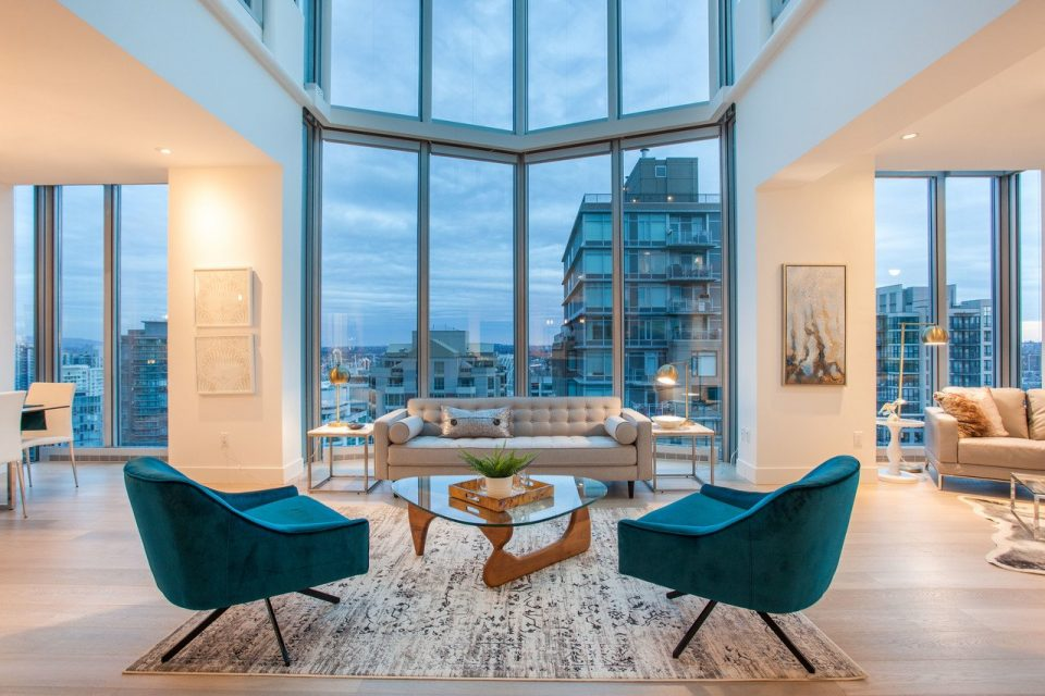 Yaletown penthouse living room