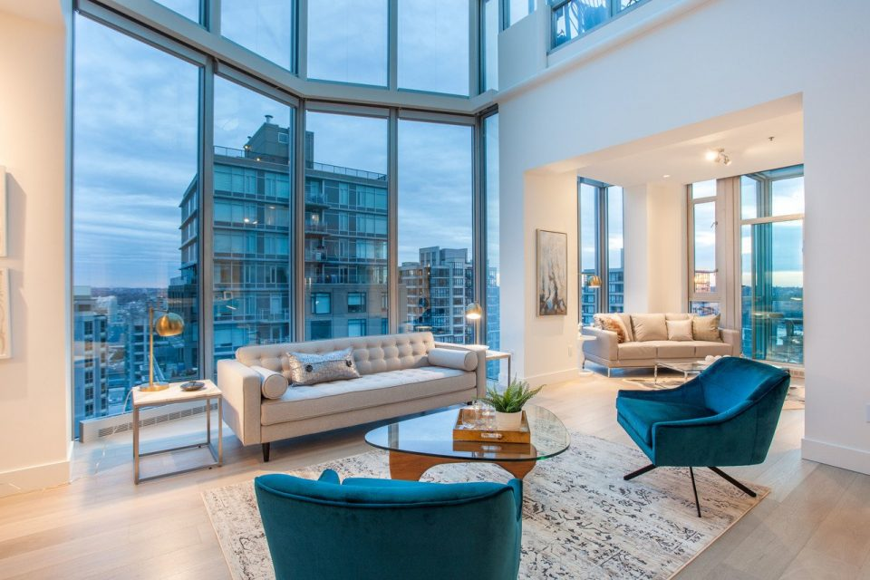 Yaletown penthouse living room angle