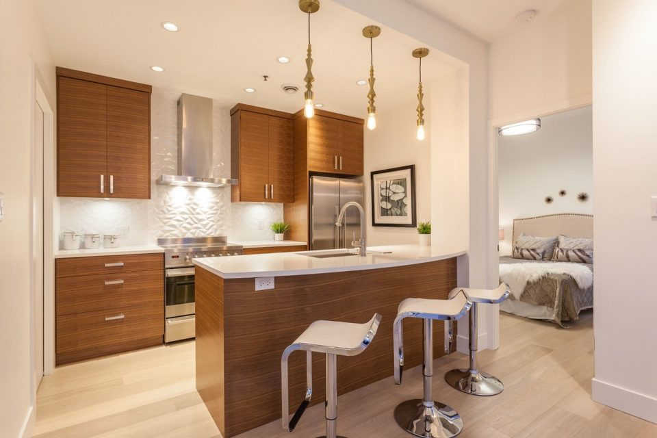 Yaletown penthouse living room kitchen