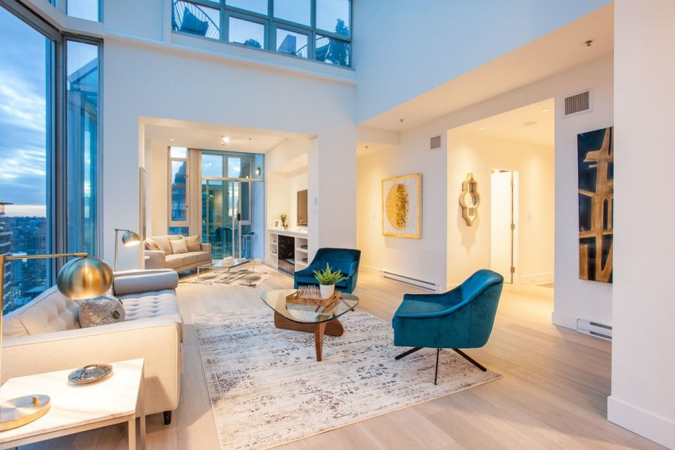 Yaletown penthouse living room seating