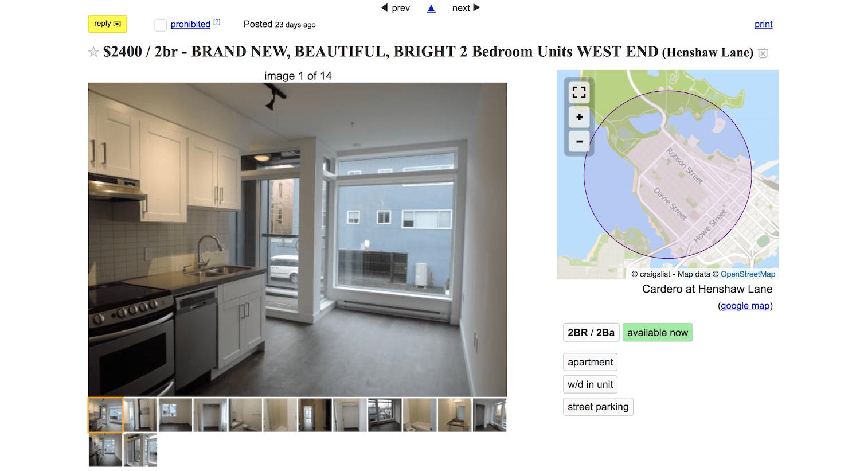 Craiglist ad Henshaw Lane apartments