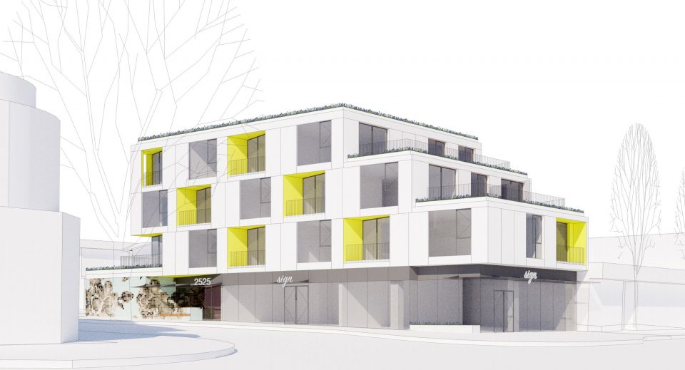 Small, modern rental apartment building proposed for West Broadway in Kitsilano
