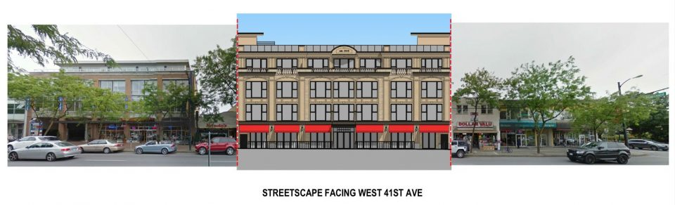 Kerrisdale hotel project rendering streetscape