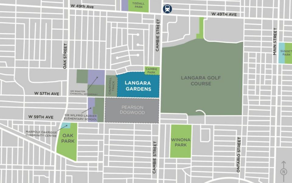 Langara Gardens redevelopment map