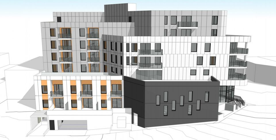 Kingsway and Clark Dr. rental apartments laneway elevation