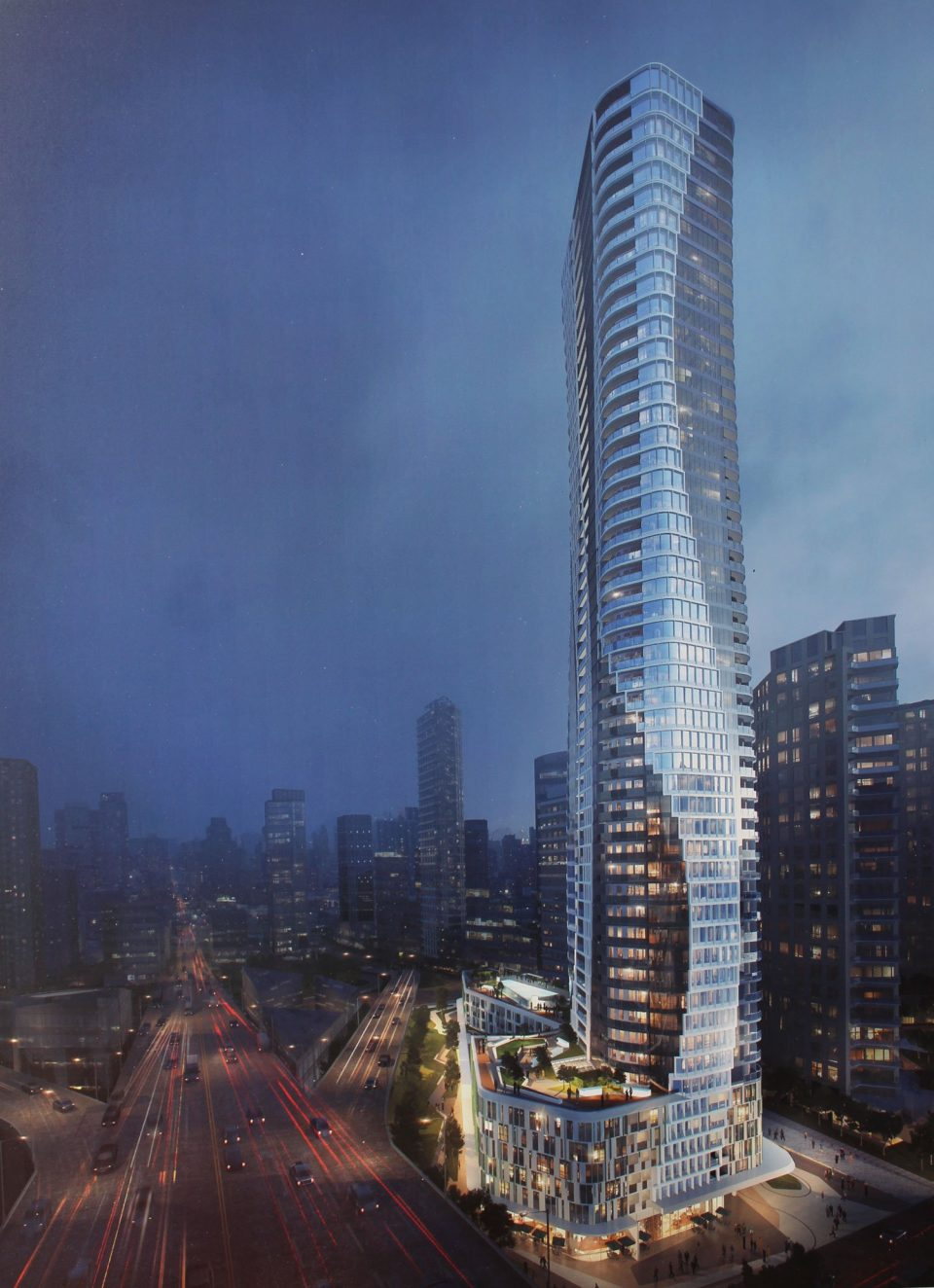 601 Beach Crescent tower rendering night