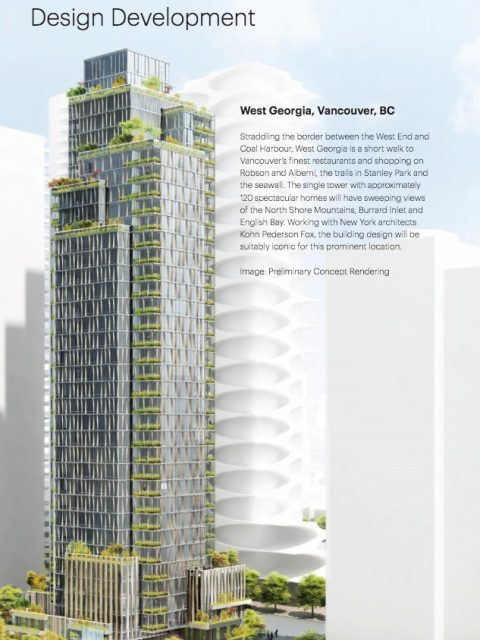 Preliminary design for Anthem Properties' tower at West Georgia and Bidwell