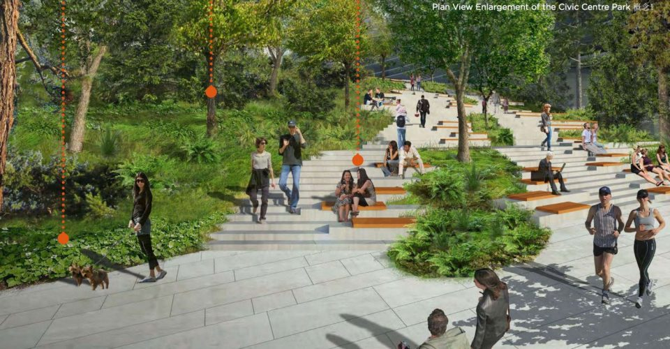 Oakridge Civic Centre Park steps rendering