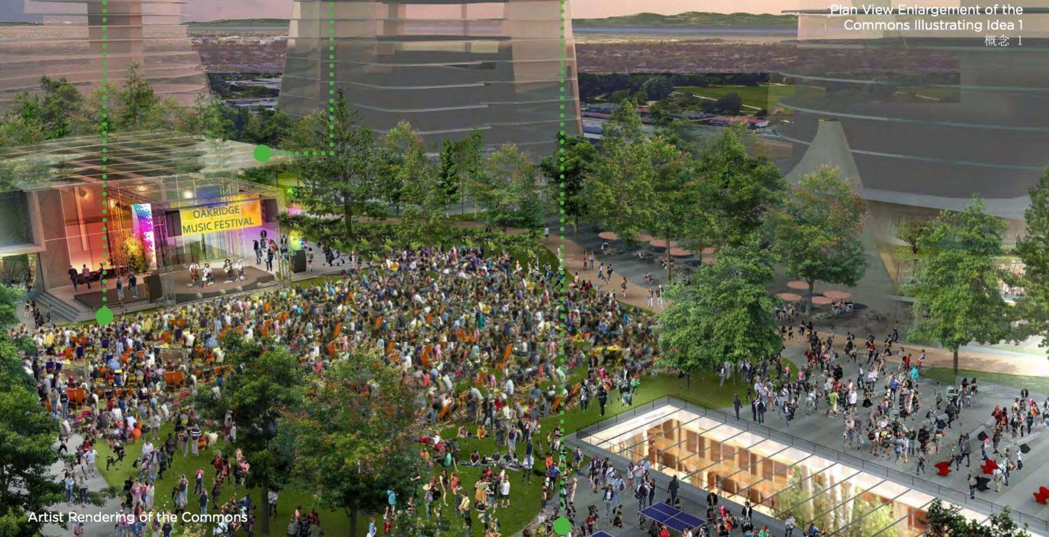 Oakridge Commons rendering showing stage