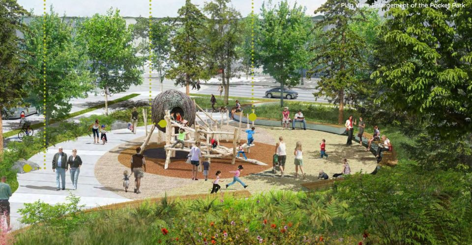 Oakridge Pocket Park rendering