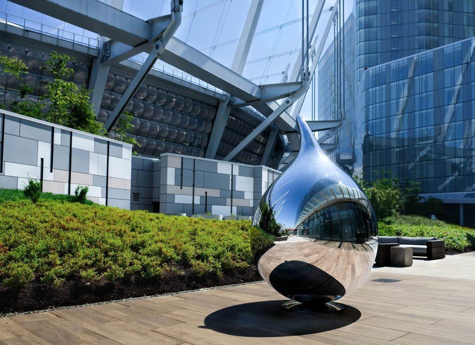 Mirrored steel sculptures by Richard Hudson on display at Parq Vancouver