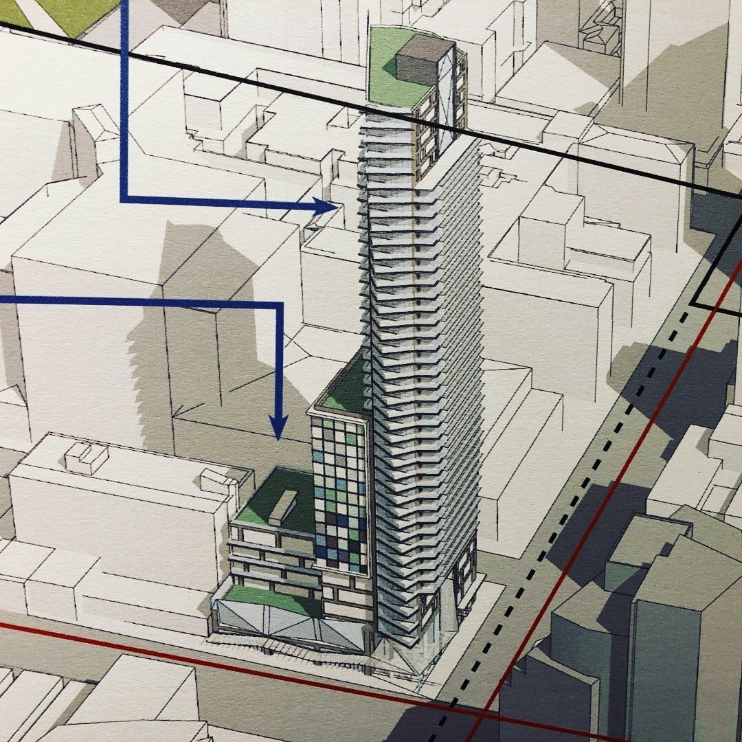 43-storey tower proposed next to Fountainhead Pub at Burrard and Davie