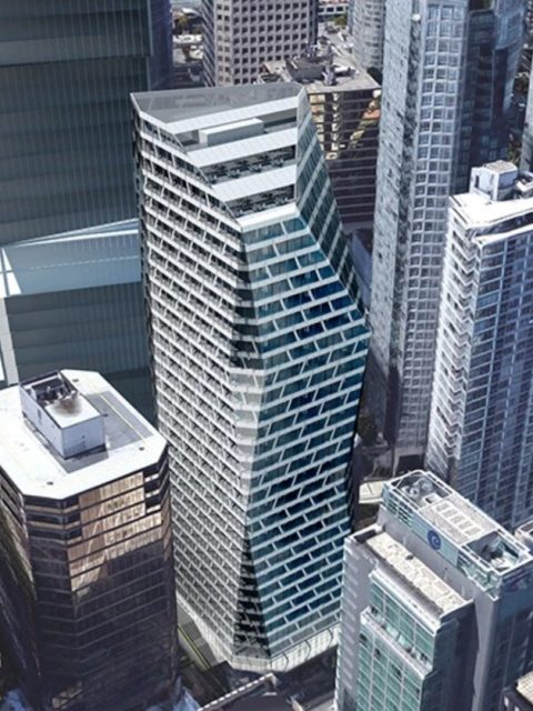 Angular 35-storey tower proposed for 1166 West Pender Street