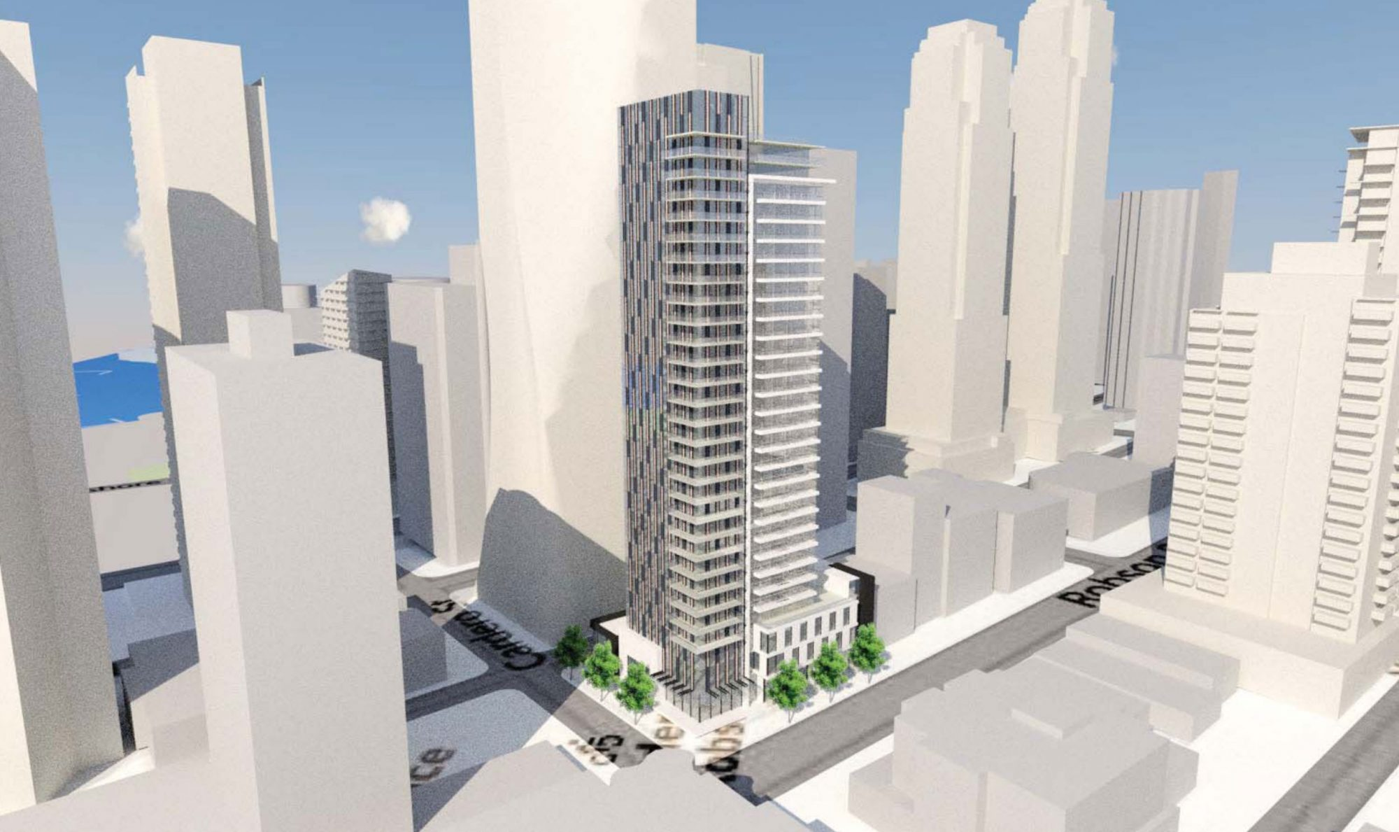 300 ft. tower at Robson and Cardero to replace Korean restaurant, kitchenware shop