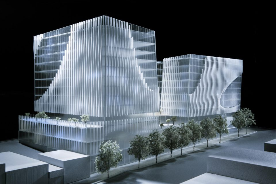 New models of 888 West Broadway, slated to replace the Park Inn
