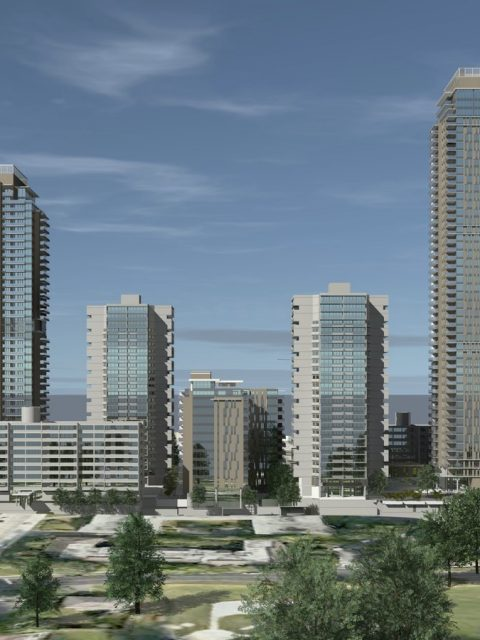 Lougheed Village infill rental apartment towers rendering