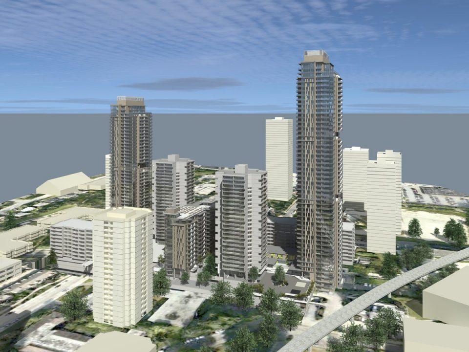 Lougheed Village infill rental apartment towers rendering
