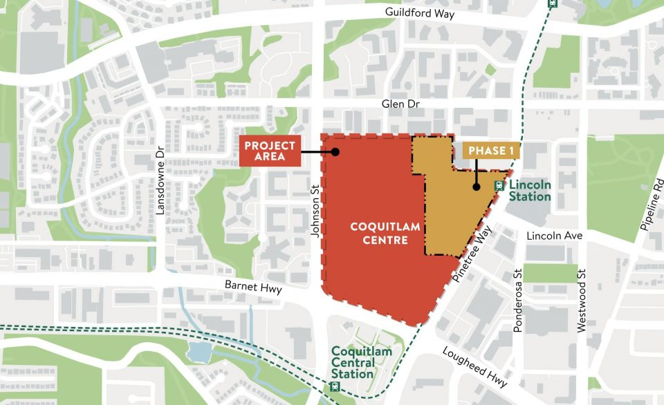 Coquitlam Centre redevelopment map
