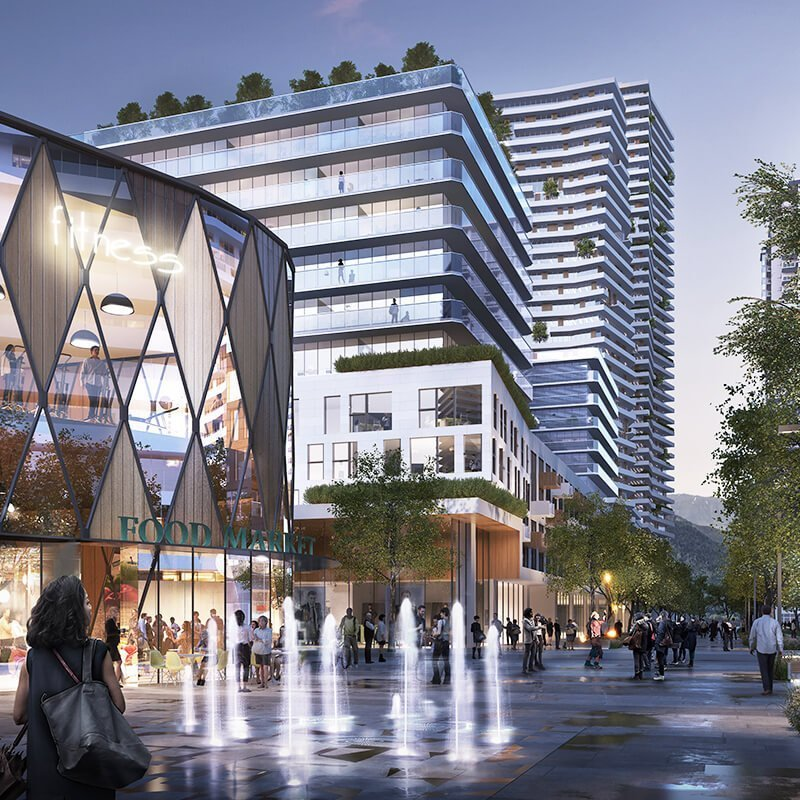 Coquitlam Centre redevelopment plaza