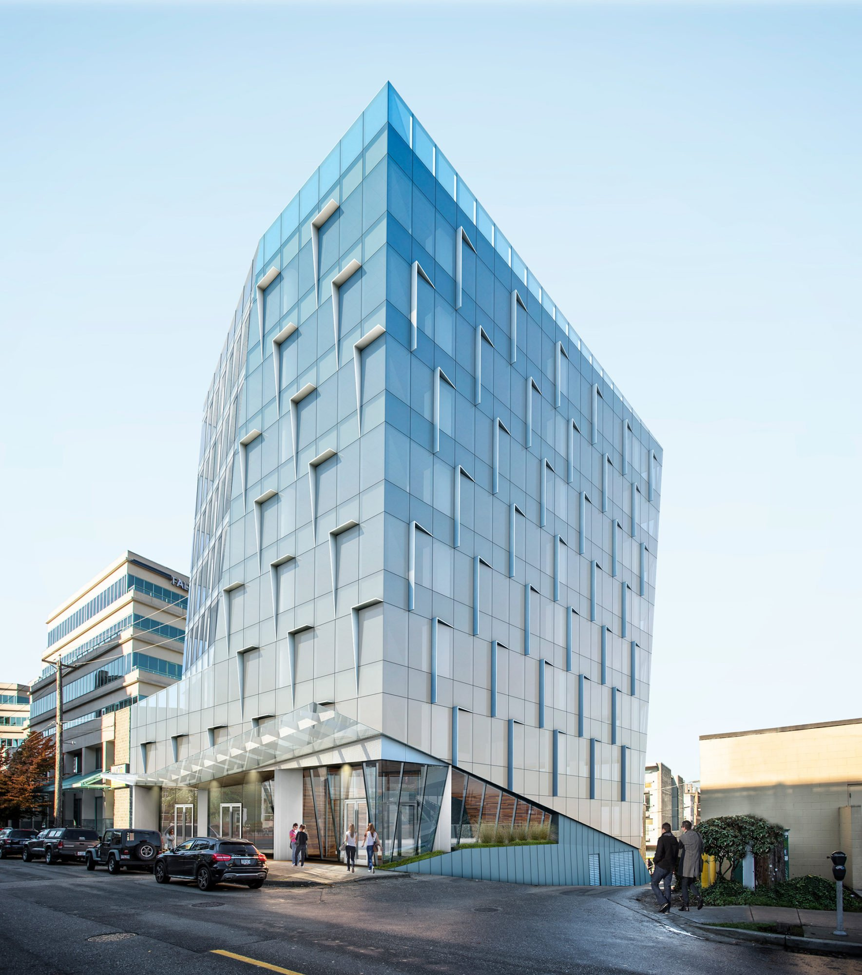 New renderings of glassy, angled office tower at Cambie and West 8th