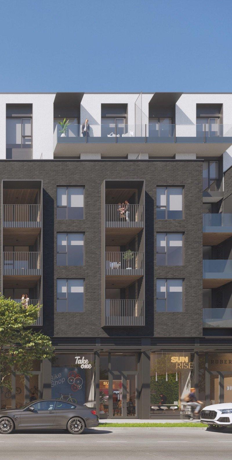 Detailed rendering of Fraser Street frontage