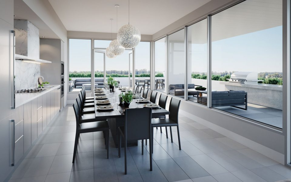Amenity space at MODE at River District