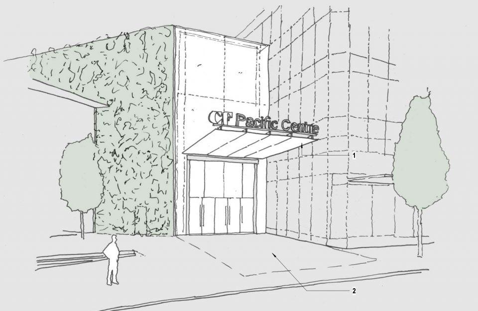 New mall entrance on West Georgia Street