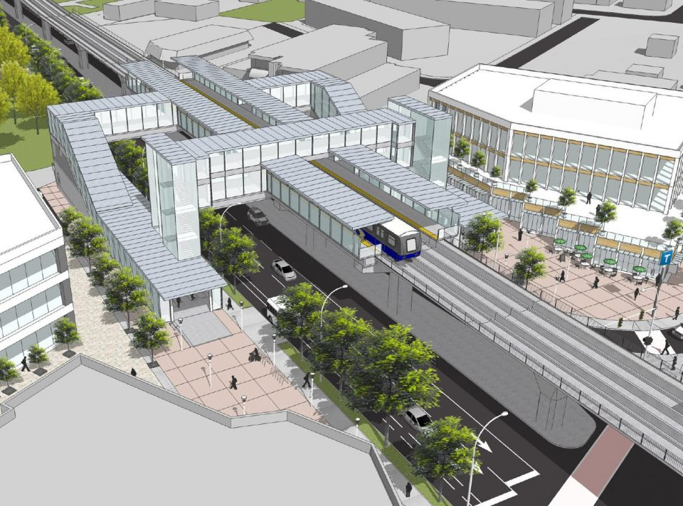 Surrey-Langley SkyTrain station rendering