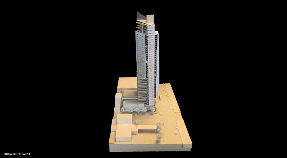 1157 Burrard Street tower model from southwest