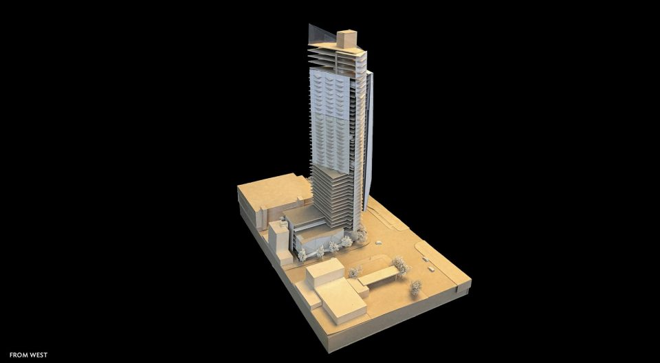 1157 Burrard Street tower model from west
