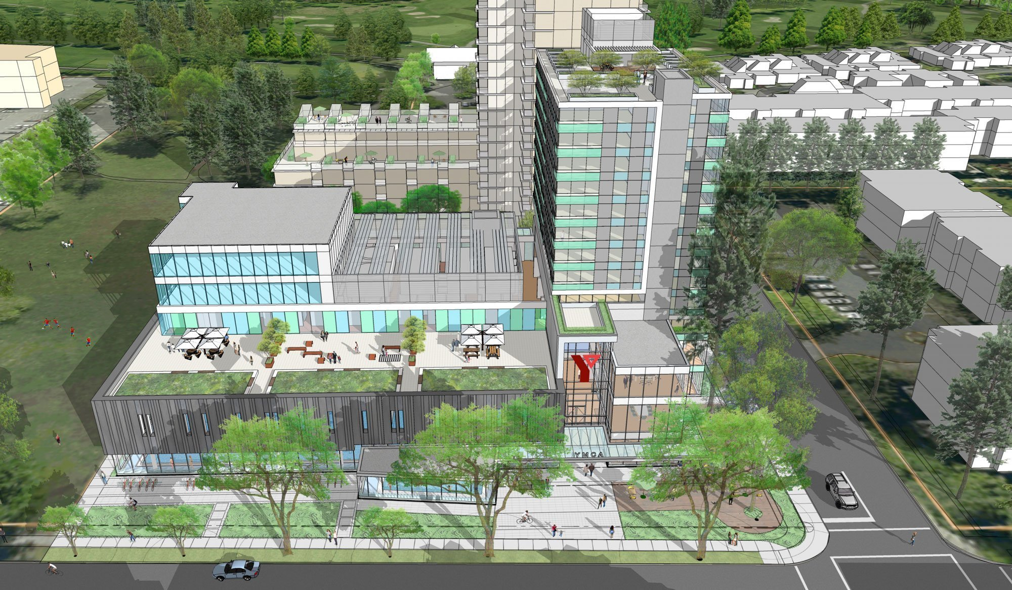 New Langara YMCA aerial view