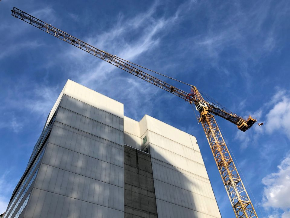 The Smithe Boffo construction site March 2019 crane