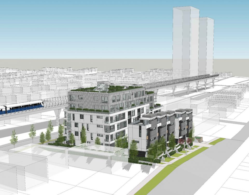 Condos and townhouses proposed along SkyTrain route on Vanness Ave.