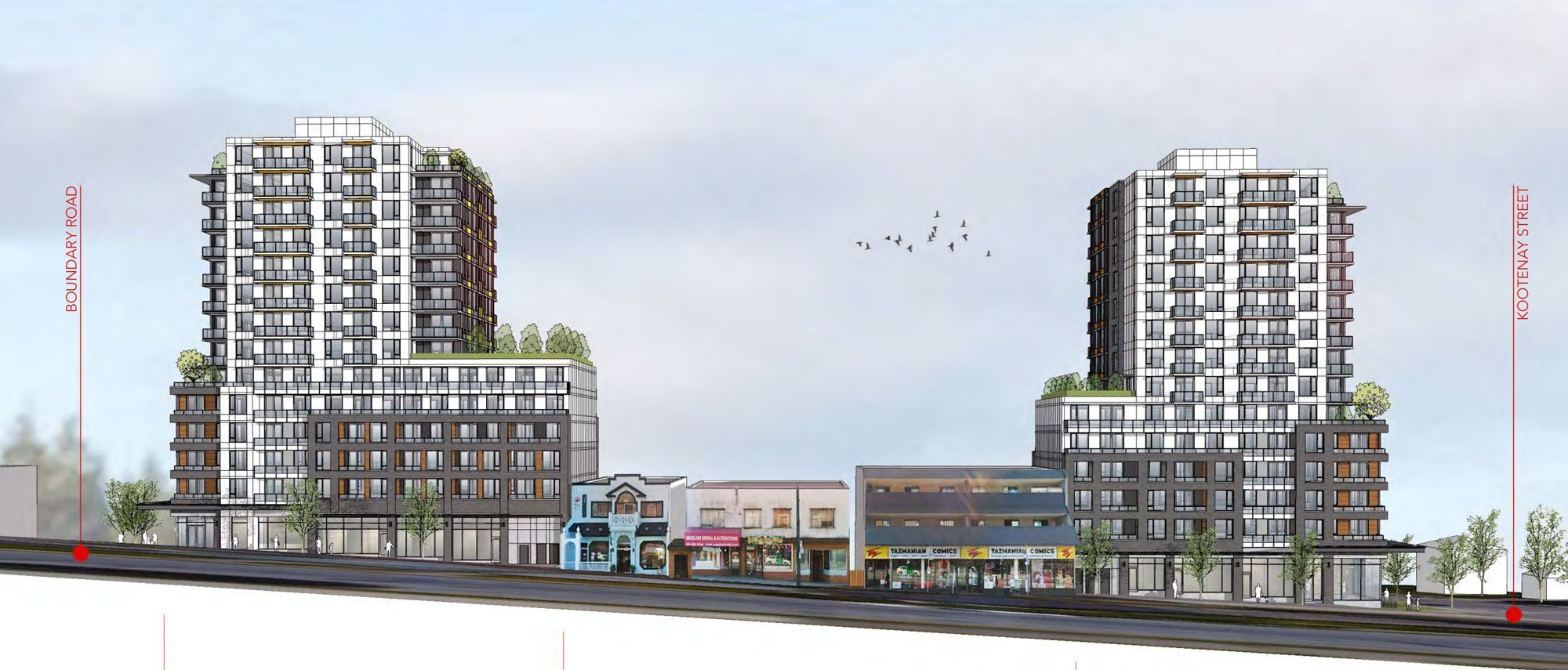 East Hastings and Boundary rental building rendering context