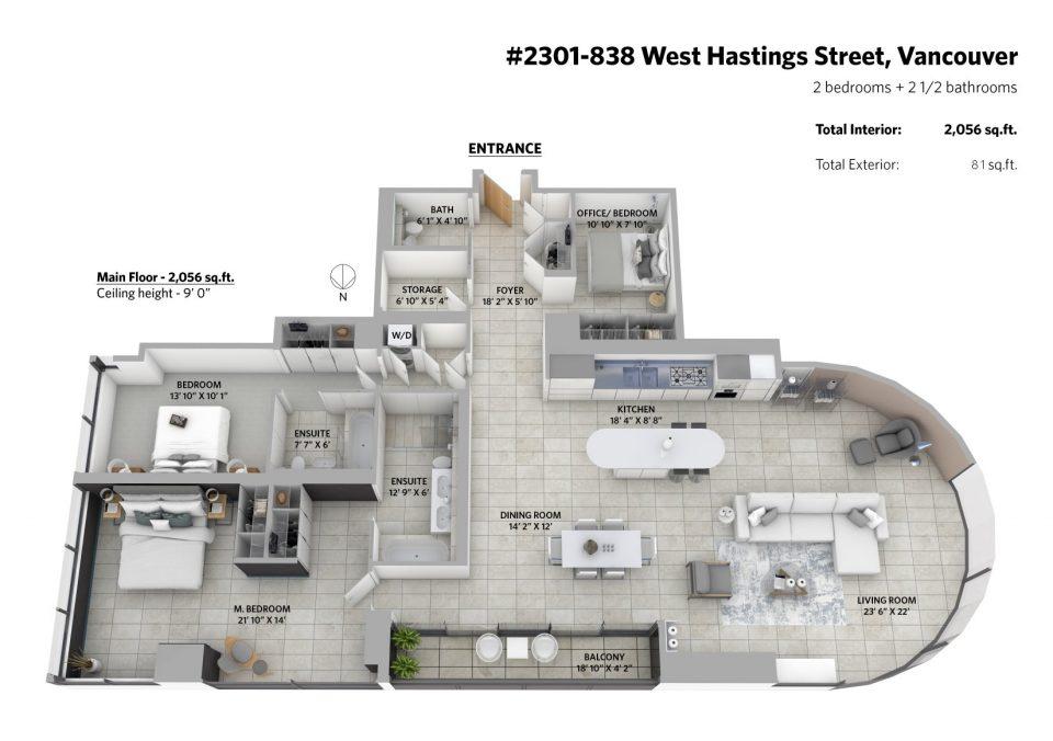 2301-838 West Hastings Street 3D floor plan