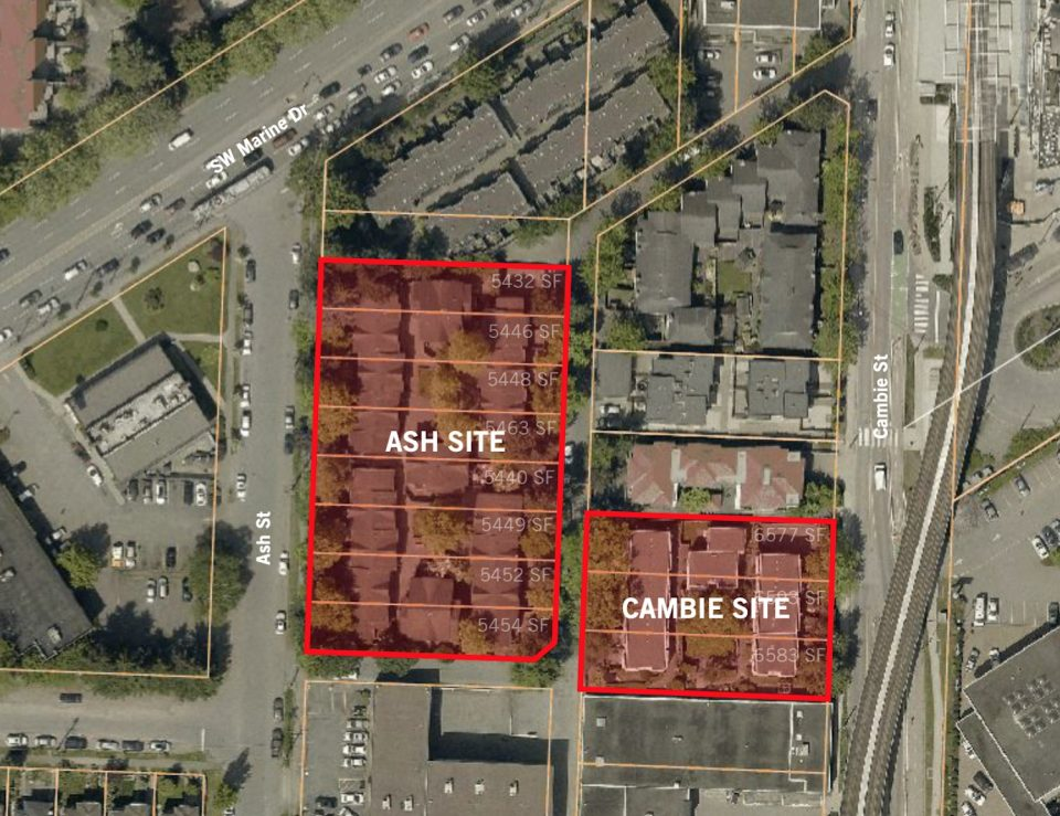 Map showing Ash and Cambie sites