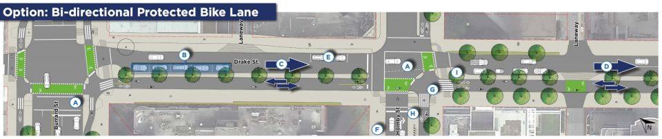 Bi-directional protected bike lane Drake Street