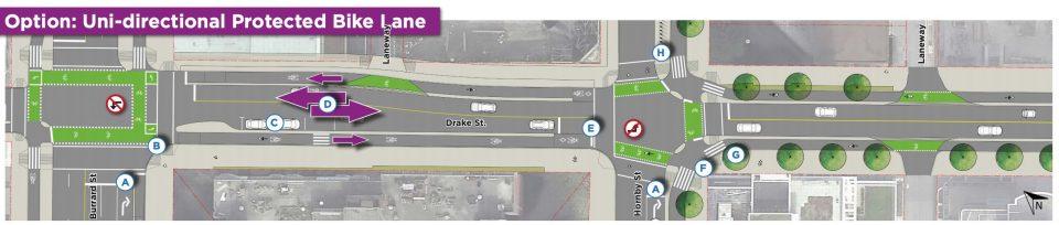 Uni-directional protected bike lane Drake Street.jpg