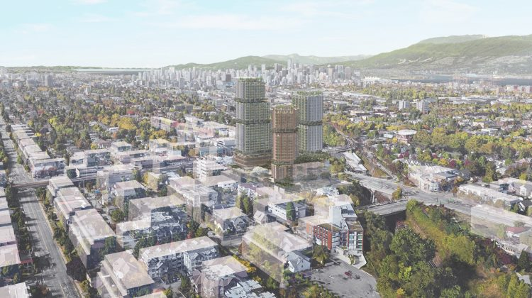 Aerial view of Safeway redevelopment at East Broadway and Commercial Drive