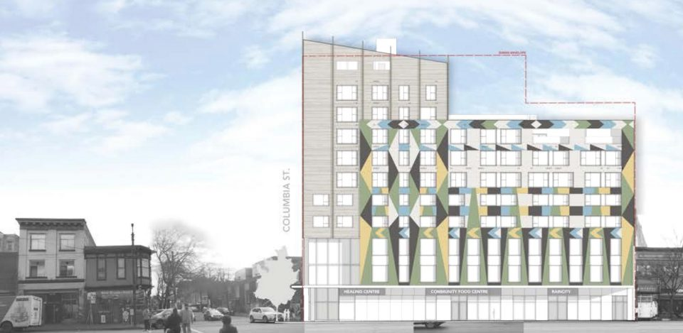 Building façade inspired by Coast Salish blanket for East Hastings