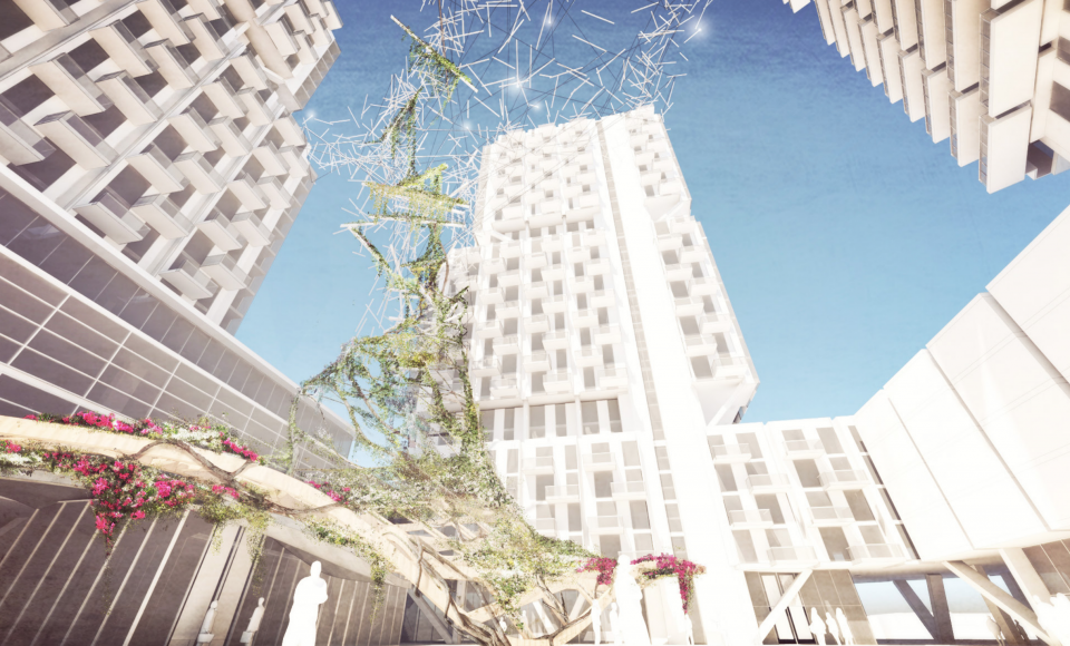 Perspective view illustrating courtyard vertical gardens