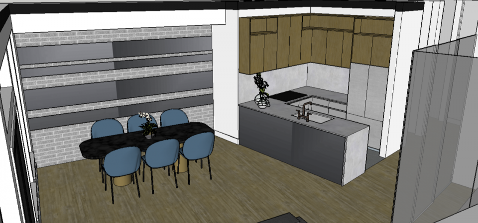 Large dining area and kitchen