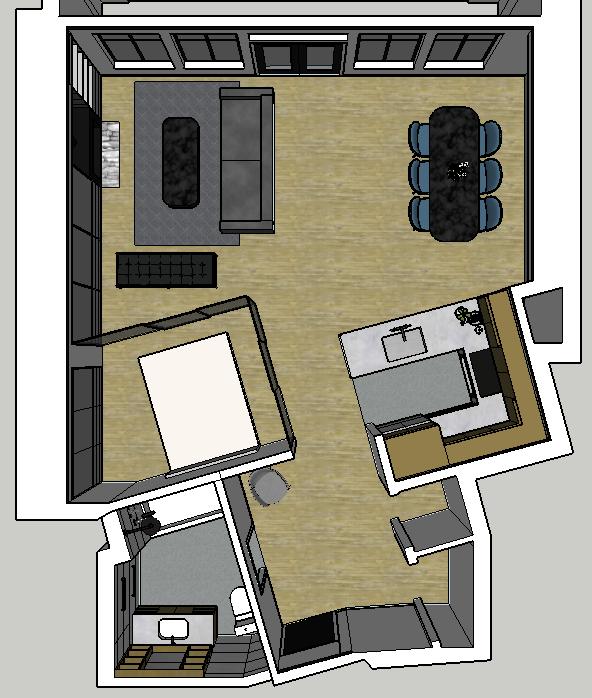 Overhead view of floor plan