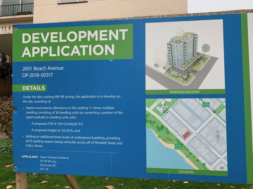 2001 Beach Ave development sign