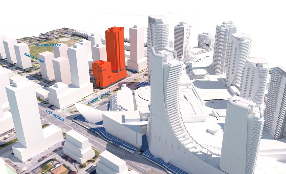 Context rendering, showing Vivagrand development in relation to Westbank and QuadReal's major redevelopment of Oakridge - context
