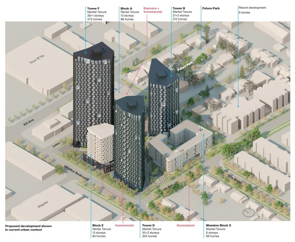 Proposed development shown in current urban context