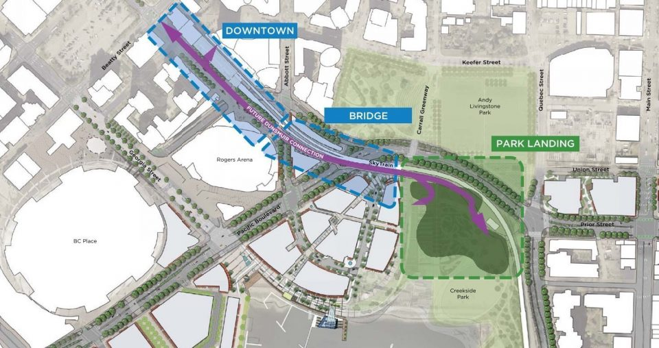 Dunsmuir Connection options include cycling underpass, amphitheatre